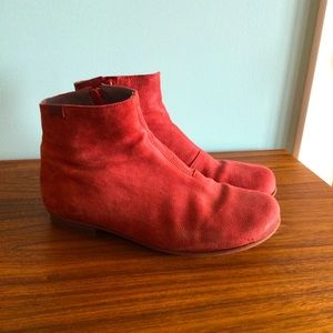 Camper Red Nubuck Ankle Booty Booties Boots